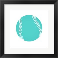 Framed Teal Softball on White