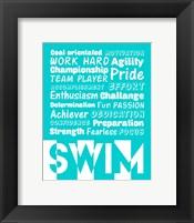 Framed Swimming Word Cloud - White