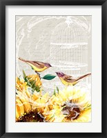 Framed Sunflower Birds I