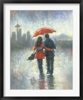 Framed Seattle Lovers in the Rain