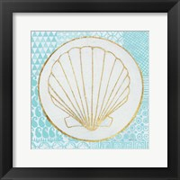 Summer Shells II Teal and Gold Framed Print