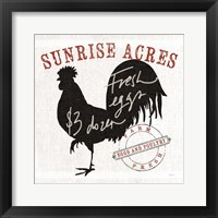 Farm Linen Rooster Black Framed Print