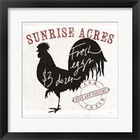 Farm Linen Rooster Black Framed Print