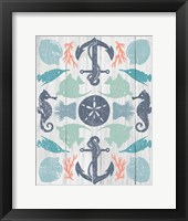 Coastal Otomi I on Wood Framed Print