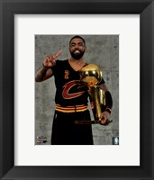 Framed Kyrie Irving with the NBA Championship Trophy Game 7 of the 2016 NBA Finals