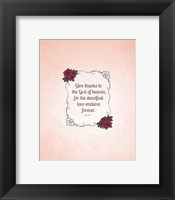 Framed Psalm 136:26, Give Thanks (Rose Border)