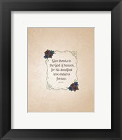 Framed Psalm 136:26, Give Thanks (Rose Border) 2
