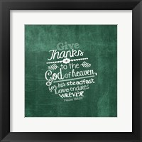 Framed Psalm 136:26, Give Thanks (Green)