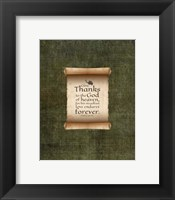 Framed Psalm 136:26, Give Thanks (Scroll on Olive Border)