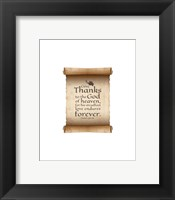 Framed Psalm 136:26, Give Thanks (Scroll on White Border)
