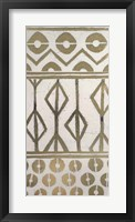 Tribal Pattern in Cream I - Metallic Foil Framed Print