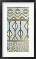 Tribal Pattern in Turquoise I - Metallic Foil Framed Print