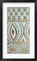 Tribal Pattern in Turquoise II - Metallic Foil Framed Print