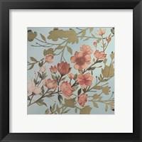 Golden Cherry Blossoms I - Metallic Foil Framed Print