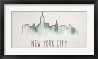 Goldleaf City Silhouette V - Metallic Foil Framed Print
