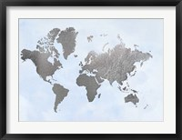 Framed Silver Foil World Map on Blue - Metallic Foil