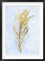 Gold Foil Feather I on Blue - Metallic Foil Framed Print