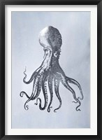 Silver Foil Octopus I on Blue Wash - Metallic Foil Framed Print