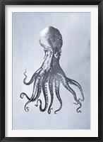Silver Foil Octopus I on Blue Wash - Metallic Foil Framed Print