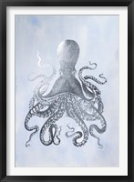 Framed Silver Foil Octopus II on Blue Wash - Metallic Foil