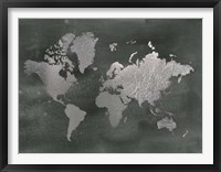 Framed Large Silver Foil World Map on Black - Metallic Foil