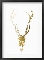 Gold Foil Rustic Mount I on White - Metallic Foil Framed Print