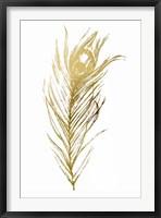 Gold Foil Feather I - Metallic Foil Framed Print