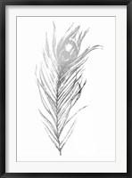 Silver Foil Feather I - Metallic Foil Framed Print