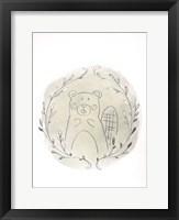 Golden Woodland Vignette III - Metallic Foil Framed Print