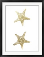 2-Up Gold Foil Starfish I - Metallic Foil Framed Print