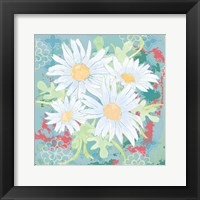 Daisy Patch Teal I Framed Print