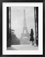 Framed Woman Looking Toward Eiffel Tower