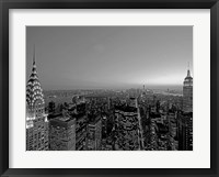 Framed Midtown and Lower Manhattan at dusk