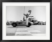 Framed Man Jumping Waving Checkered Flag