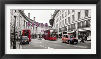 Framed Buses and taxis in Oxford Street, London