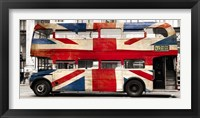 Framed Union Jack Double-Decker Bus, London