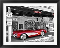 Framed Red Corvette
