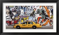 Framed Taxi and Mural Painting in Soho, NYC