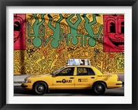 Framed Taxi and Mural painting, NYC