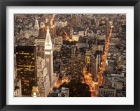 Framed Aerial View of Manhattan with Flatiron Building, NYC