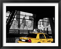 Framed Taxi on the Queensboro Bridge, NYC