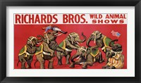 Framed Richards Bros. Wild Animal Shows, ca. 1925
