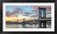 Framed Manhattan Bridge at Sunset, NYC