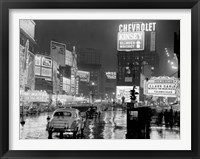 Framed Times Square at Night, NYC, 1951