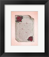 Framed Corinthians 13:4-8 Love is Patient - Rose Border Pink