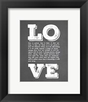 Framed Corinthians 13:4-8 Love is Patient - Chalkboard