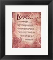 Framed Corinthians 13:4-8 Love is Patient - Pink Floral