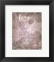 Framed Corinthians 13:4-8 Love is Patient - Grey Leaves