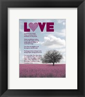Framed Corinthians 13:4-8 Love is Patient - Pink Field