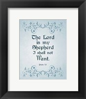 Framed Psalm 23 The Lord is My Shepherd - Blue